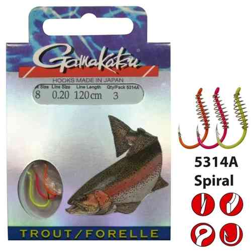 Gamakatsu trout 5314A SPIRAL hk 8 line 0,20mm 1,2m