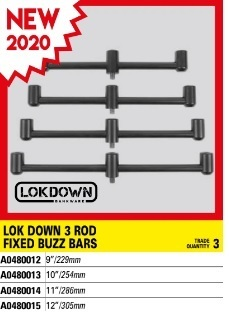 "Avid Carp Lok Down 3 Rod Fixed Buzz Bar - 12""/305mm"